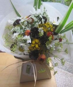 Small gift wrapped bouquet