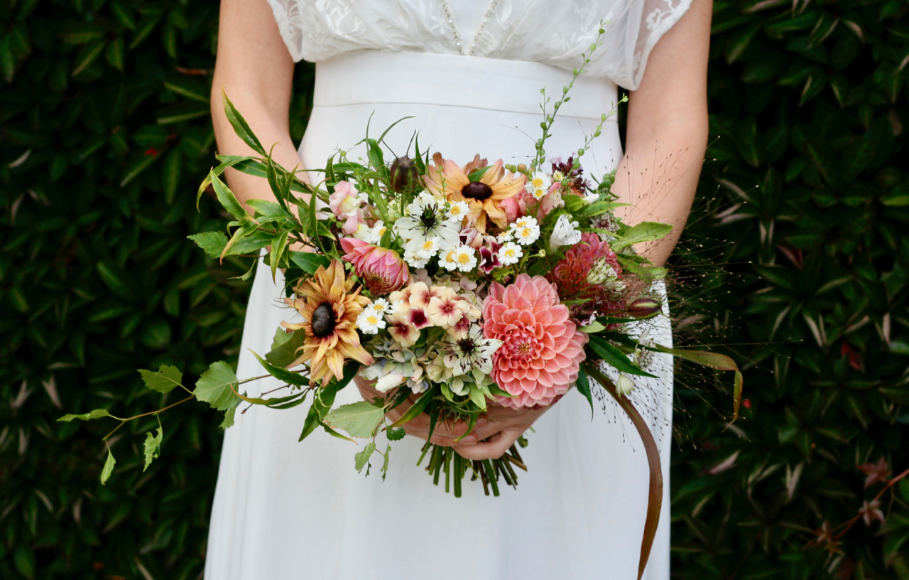Natural bridal flower crown using Scottish flowers