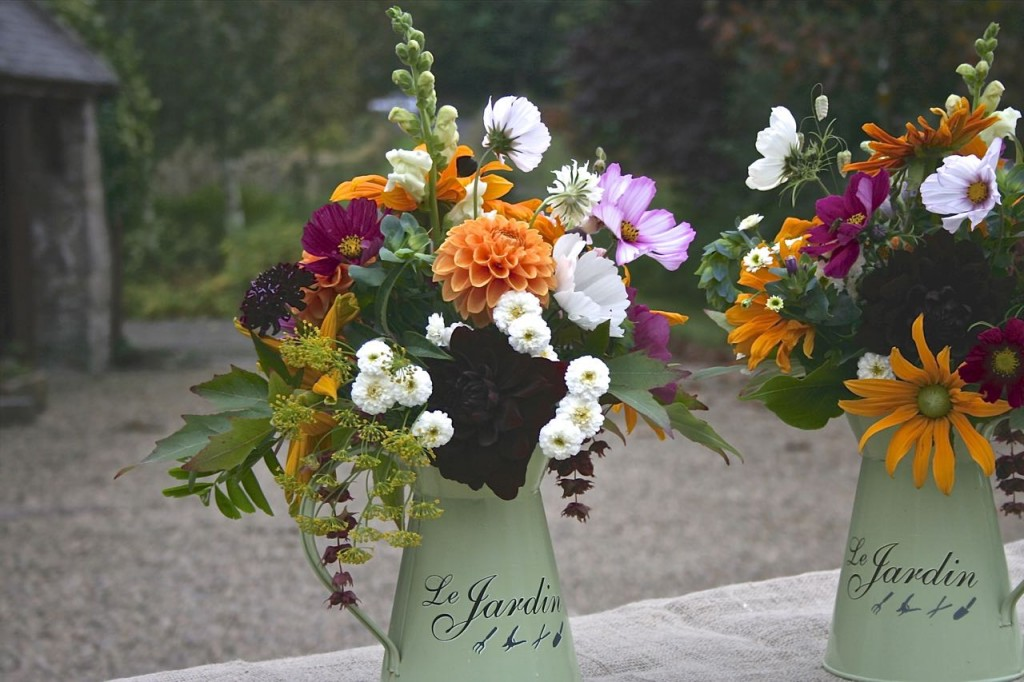 Golden wedding jugs Scottish flowers