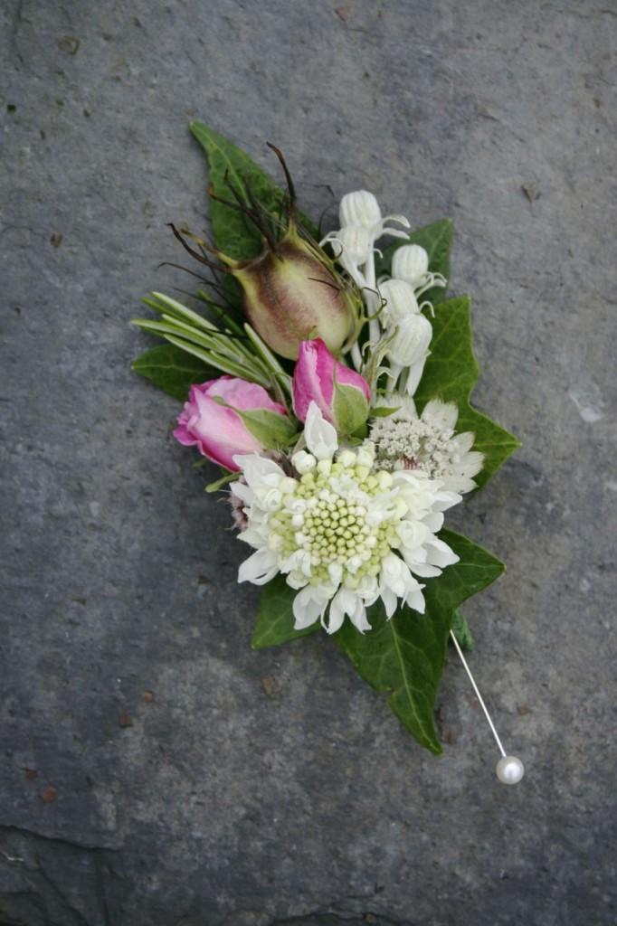 July Scottish wedding flowers corsage
