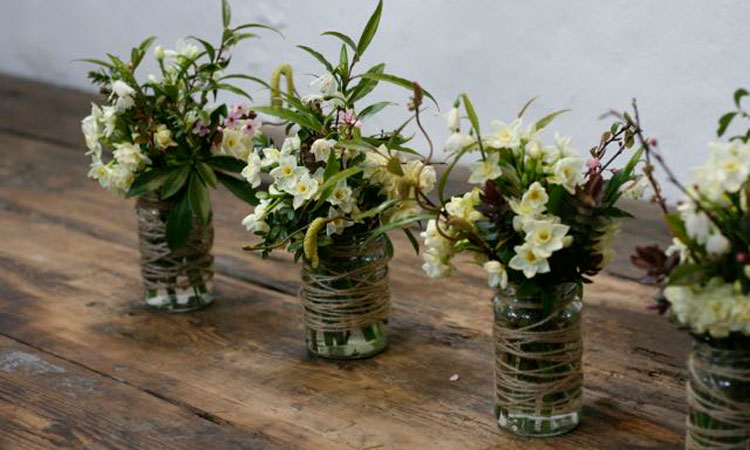 Natural Scottish Wedding table arrangements