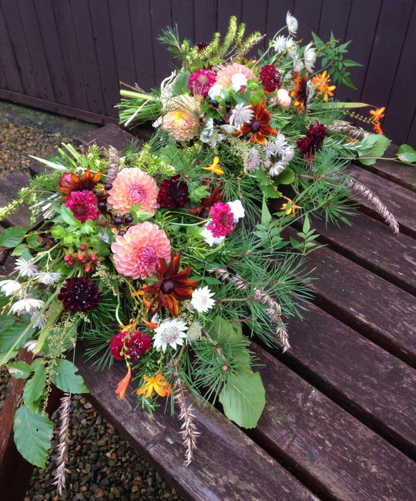 Natural funeral flowers mayfield flowers two flat backed bouquets pictured and the main sheaf were posted off to the funeral directors in england and i received a lovely thank you note and copy izmirmasajfo