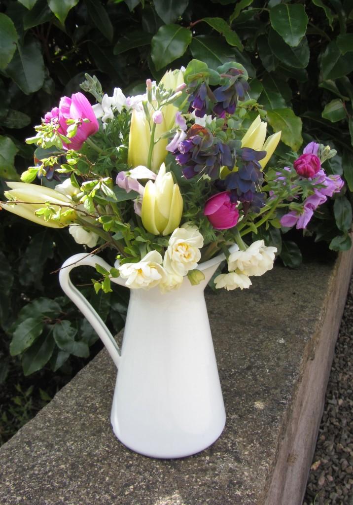 Spring jug Scottish grown flowers