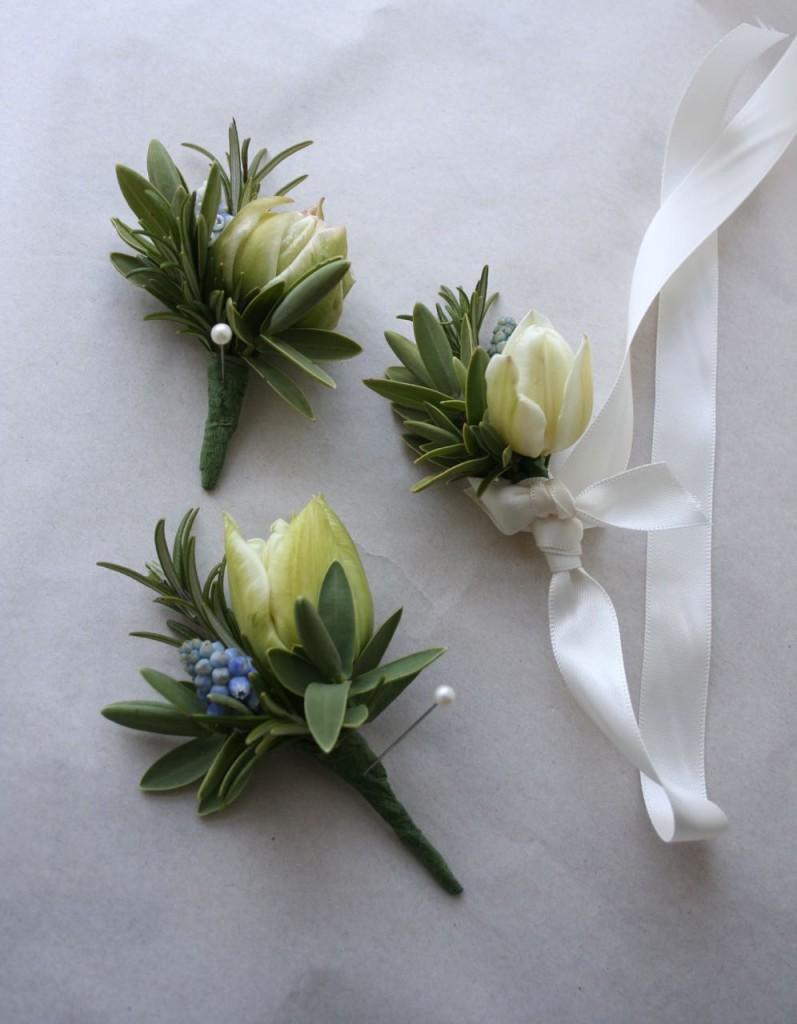 Spring wedding buttoholes Scottish flowers