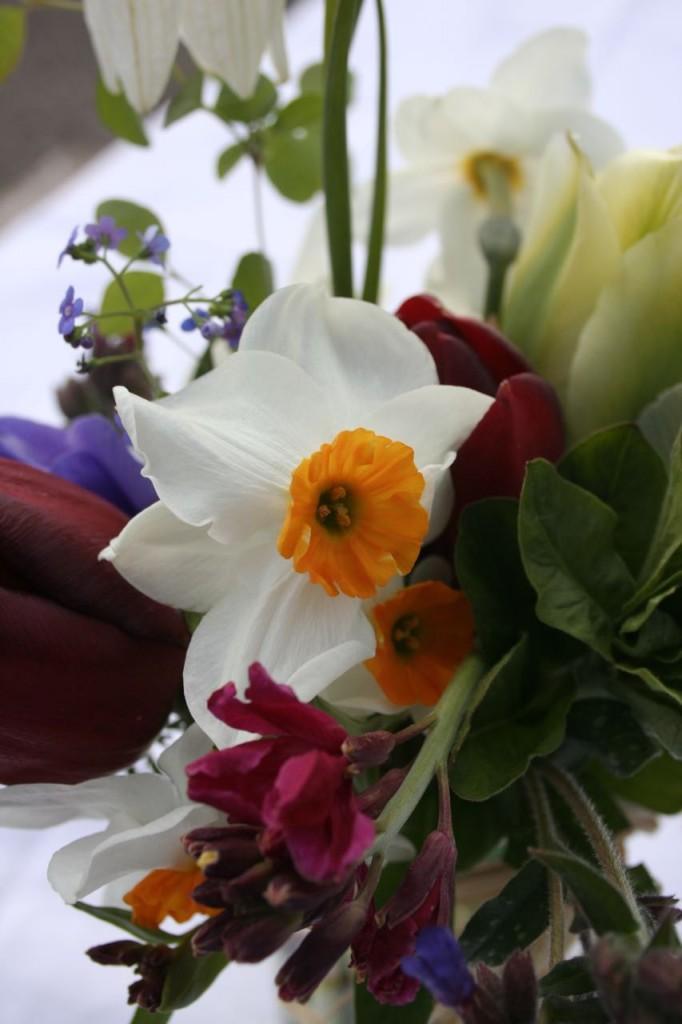 Spring wedding jam jar close up