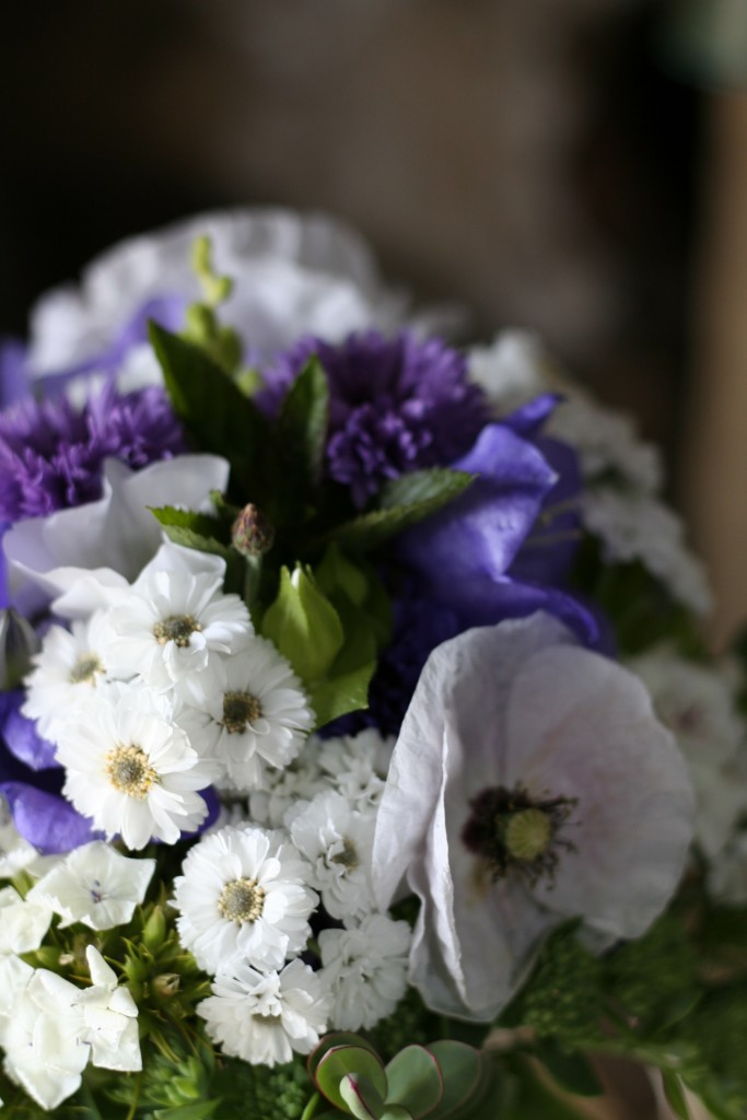 blue and purple bride bouquet