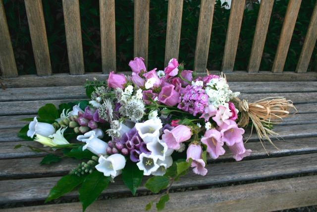 small natural funeral sheaf, Mayfield flowers Summer
